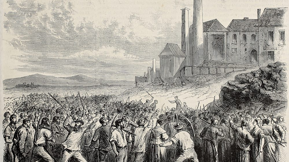 Old illustration of  workers riot at Hazard cool mine, near Char
